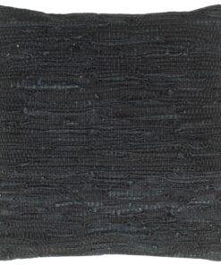 vidaXL pude chindi sort 60 x 60 cm læder og bomuld