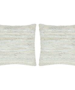 vidaXL puder 2 stk. chindi lysegrå 45 x 45 cm læder og bomuld