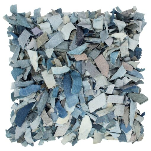 vidaXL pude denim pjusket blå 60 x 60 cm læder og bomuld