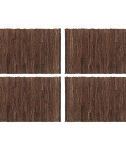 vidaXL dækkeservietter 4 stk. 30 x 45 cm bomuld chindi brun