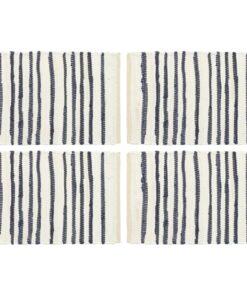 vidaXL dækkeservietter 4 stk. 30 x 45 cm bomuld stribet blå og hvid