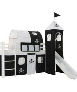 vidaXL loftseng til børn med rutsjebane og stige fyrretræ 97 x 208 cm