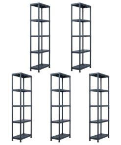 vidaXL opbevaringsreoler 5 stk. 125 kg 60 x 30 x 180 cm plastik sort
