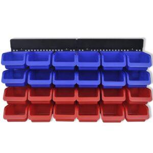 2 stk. vægmonterede sorteringssystemer blå og rød