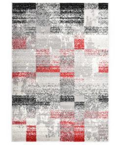 vidaXL gulvtæppe 80 x 150 cm PP grå og rød