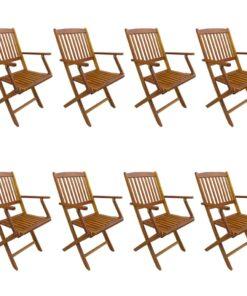vidaXL foldbare havestole 8 stk. massivt akacietræ