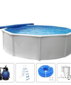 KWAD swimmingpoolsæt Steely Deluxe rund 3,6 x 1,2 m