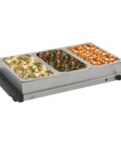 vidaXL buffetvarmer rustfrit stål 300 W 3 x 2,5 l
