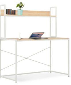 vidaXL computerbord 120 x 60 x 138 cm hvid og egetræsfarve