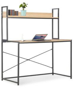 vidaXL computerbord 120 x 60 x 138 cm sort og egetræsfarve