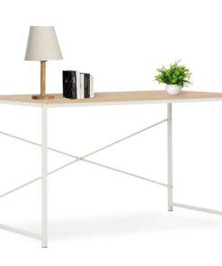 vidaXL computerbord 120 x 60 x 70 cm hvid og egetræsfarve