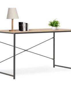 vidaXL computerbord 120 x 60 x 70 cm sort og egetræsfarvet