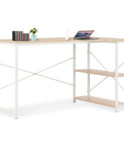 vidaXL computerbord 120 x 72 x 70 cm hvid og egetræsfarvet