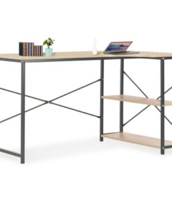vidaXL computerbord 120 x 72 x 70 cm sort og egetræsfarvet
