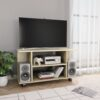 vidaXL tv-skab med hjul 80 x 40 x 40 cm spånplade sonoma-eg