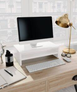 vidaXL skærmstander 42 x 24 x 13 cm spånplade hvid højglans