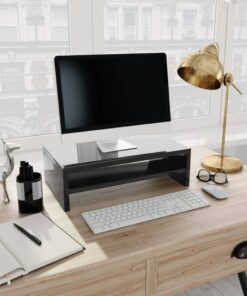 vidaXL skærmstander 42 x 24 x 13 cm spånplade sort højglans