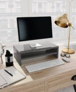 vidaXL skærmstander 42 x 24 x 13 cm spånplade grå højglans