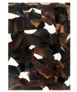 vidaXL patchworktæppe ægte læder med hår 160 x 230 cm sort/hvid/brun