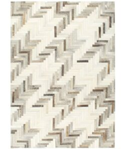 vidaXL patchworktæppe ægte læder med hår 120 x 170 cm grå/hvid