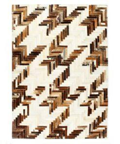 vidaXL patchworktæppe ægte læder med hår 80 x 150 cm brun/hvid