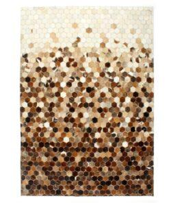 vidaXL patchworktæppe ægte læder med hår 160 x 230 cm brun/hvid