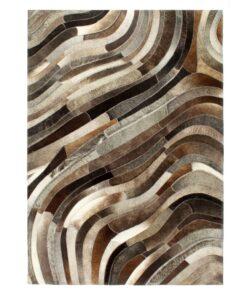 vidaXL patchworktæppe ægte læder med hår 120 x 170 cm grå/sølvfarvet