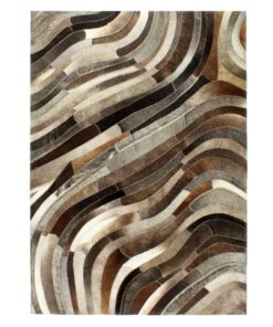 vidaXL patchworktæppe ægte læder med hår 160 x 230 cm grå/sølvfarvet