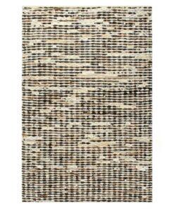 vidaXL gulvtæppe ægte læder med hår 120 x 170 cm sort/hvid
