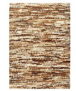 vidaXL gulvtæppe ægte læder med hår 120 x 170 cm brun/hvid