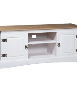 vidaXL tv-bord 120 x 40 x 52 cm fyrretræ Corona-serien hvid