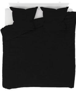 vidaXL sengesæt 200×200/80×80 cm fleece sort