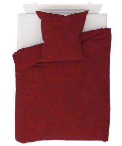 vidaXL sengesæt 135×200/80×80 cm fleece vinrød
