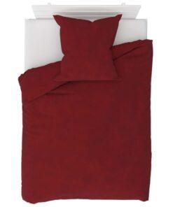 vidaXL sengesæt 155×220/80×80 cm fleece vinrød