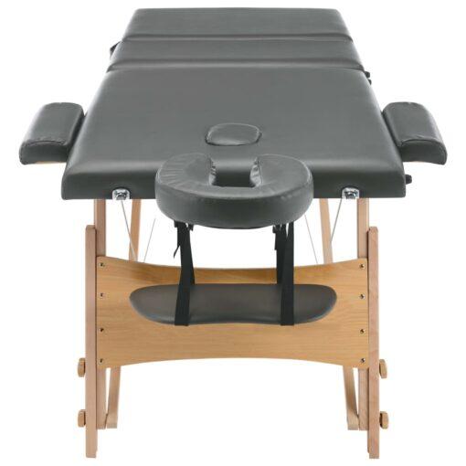 vidaXL massagebord med 3 zoner træstel 186 x 68 cm antracitgrå