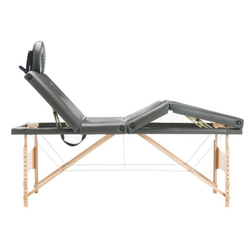 vidaXL massagebord med 4 zoner træstel 186 x 68 cm antracitgrå