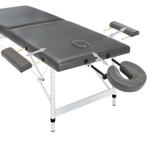 vidaXL massagebord med 2 zoner aluminiumsstel 186 x 68 cm antracitgrå