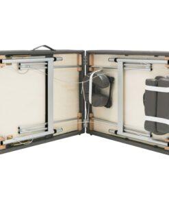 vidaXL massagebord med 3 zoner aluminiumsstel 186 x 68 cm antracitgrå