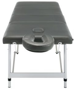 vidaXL massagebord med 4 zoner aluminiumsstel 186 x 68 cm antracitgrå