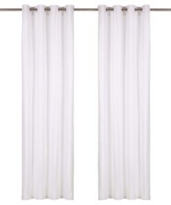 vidaXL gardiner med metalringe 2 stk. 140 x 175 cm bomuld hvid