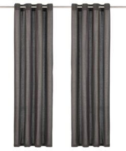 vidaXL gardiner med metalringe 2 stk. 140 x 225 cm bomuld antracitgrå