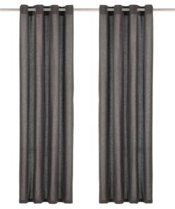 vidaXL gardiner med metalringe 2 stk. 140 x 245 cm bomuld antracitgrå