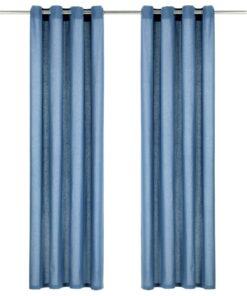 vidaXL gardiner med metalringe 2 stk. 140 x 225 cm bomuld blå