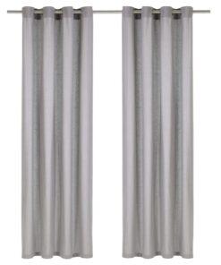 vidaXL gardiner med metalringe 2 stk. 140 x 245 cm bomuld grå