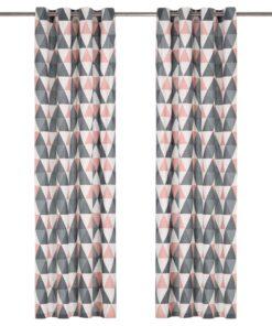vidaXL gardiner med metalringe 2 stk. 140 x 225 cm bomuld grå og pink