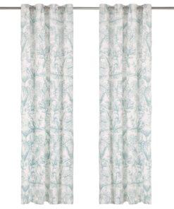 vidaXL gardiner metalringe 2 stk. 140 x 225 cm bomuld blomstret grøn