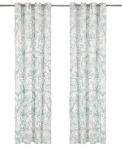 vidaXL gardiner metalringe 2 stk. 140 x 245 cm bomuld blomstret grøn