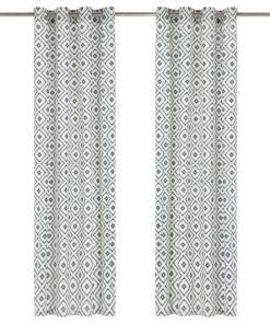 vidaXL gardiner med metalringe 2 stk. 140 x 225 cm bomuld firkant grøn