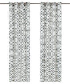 vidaXL gardiner metalringe 2 stk. 140 x 245 cm bomuld firkanter grøn
