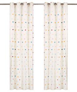 vidaXL gardiner 2 stk. metalringe 140 x 245 cm bomuld trekanter